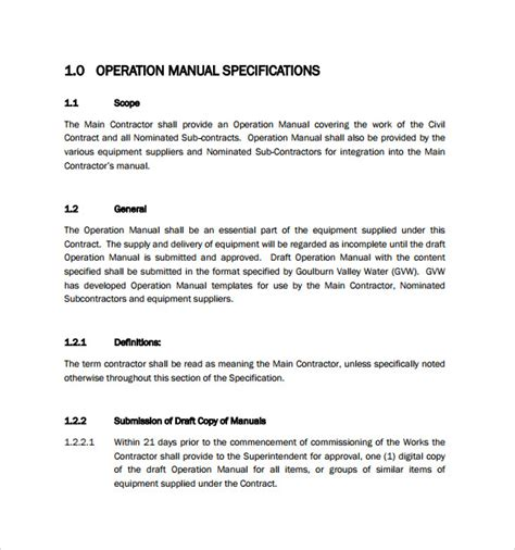 operating manual template sle operations manual 8 documents in pdf word