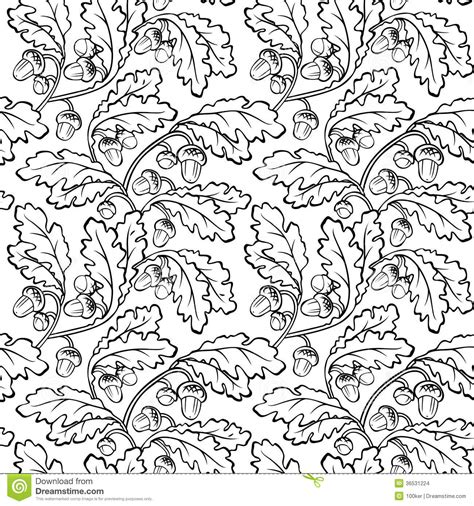 leaf pattern black and white clipart oak leaf acorn black white seamless background stock