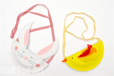Paper Purse Craft - ted paper plate bunny purse