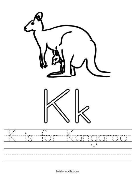 k is for kangaroo worksheet twisty noodle