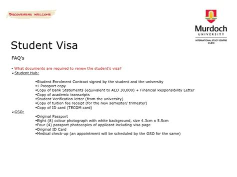 Bank Letter For Us Student Visa Murdoch International Study Centre Dubai