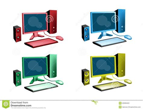 colorful mac computer colorful illustration set of desktop computer icon stock