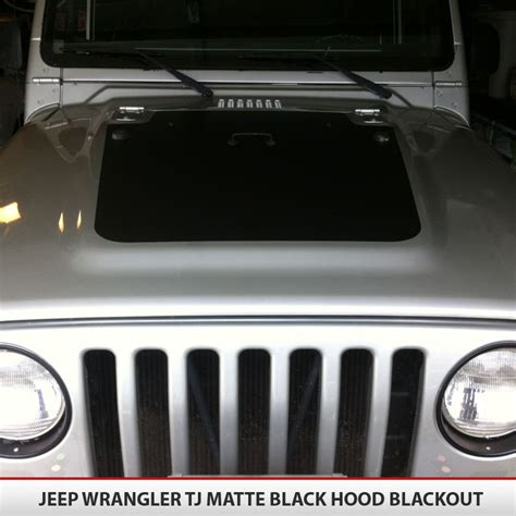 matte black jeep liberty hood blackout vinyl decal for jeep wrangler tj 97 06