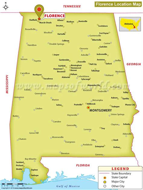 alabama on map of usa where is florence located in alabama usa