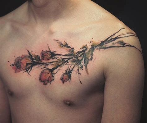 rose tattoo on men chest designs ideas and meaning tattoos for you