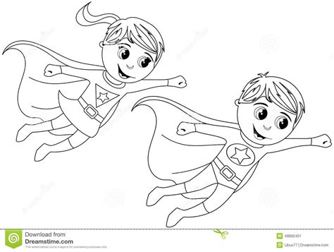 superhero coloring pages preschool happy superhero kid kids flying isolated coloring page