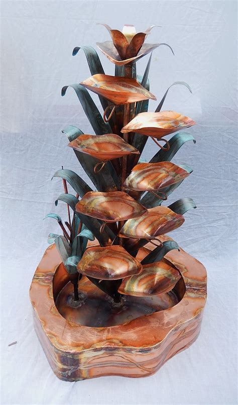 copper water fountain medium calla lily with double wall