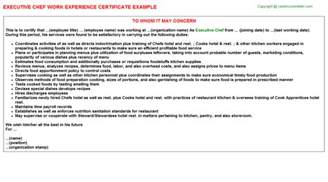 Experience Letter As A Cook Executive Chef Work Experience Certificate