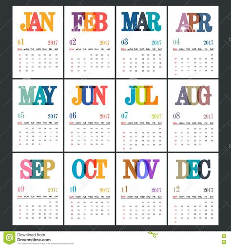 design new year calendar annual calendar design of new year stock illustration