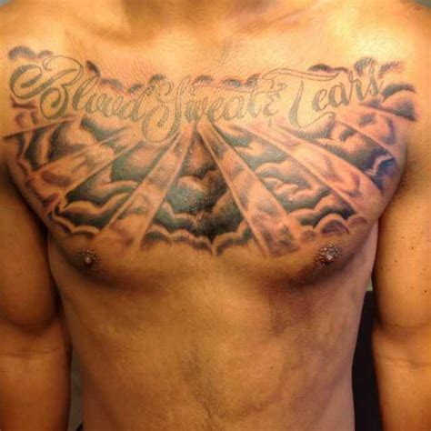 cloud tattoos on chest blood sweat tears clouds on chest