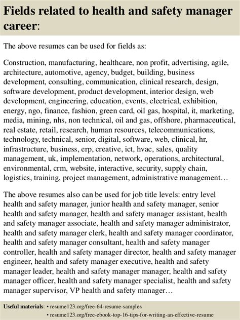 Safety Manager Resume by Top 8 Health And Safety Manager Resume Sles