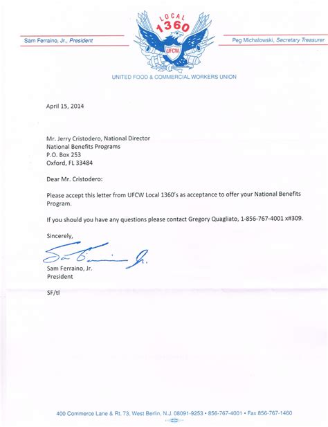 Indiana Acceptance Letter ufcw local 1360 acceptance letter national benefits programs