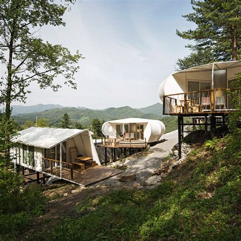 Cabins In South by Wooden Cabins And Tents On Stilts Provide Accommodation At South Korean Gling Site Studio