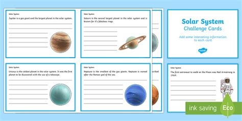 solar system trading cards template high school finish the solar system fact cards solar system worksheets