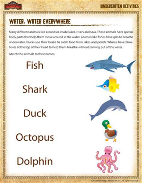 printable animal articles water water everywhere kindergarten science worksheet