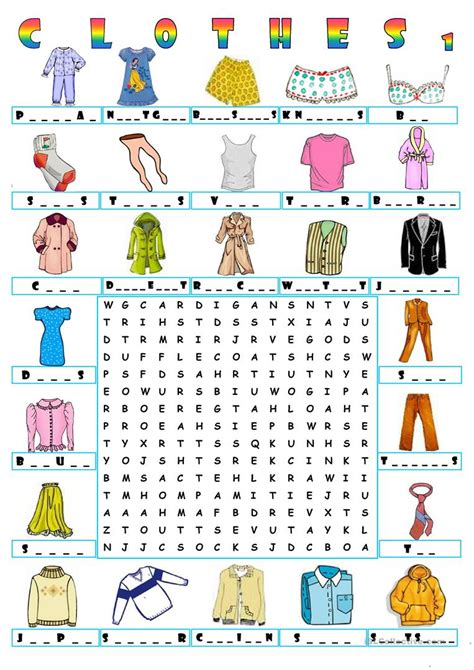 english word pattern search clothes wordsearch 1 worksheet free esl printable