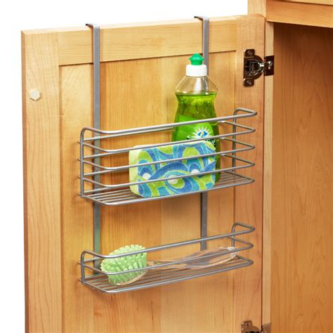kitchen cabinet door shelves polytherm over the cabinet double basket the container store