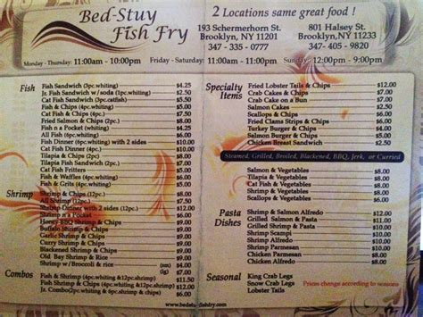bed stuy fish fry menu 1 of 2 yelp