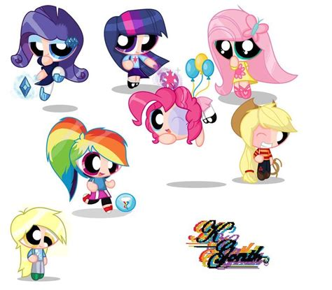 ppg to mlp and mlp to ppg all ponys ppg rrb crossovers twilight rainbow dash