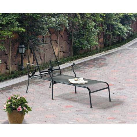 Black Wrought Iron Patio Chaise Lounge by Mainstays Jefferson Black Wrought Iron Chaise Lounge
