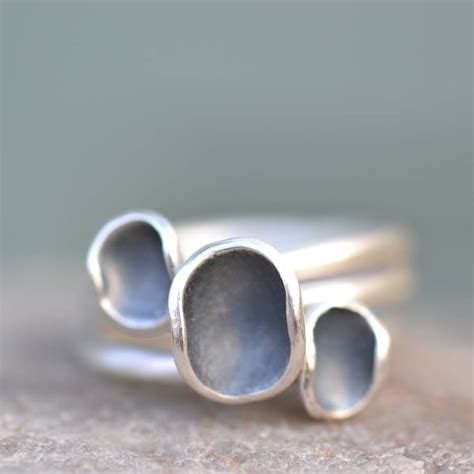 Handmade Stacking Rings - three handmade silver euphorbia stacking rings by muriel