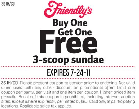 Deals Buy One Sundae Get One Free by Buy One Get One Free Sundae At Friendly S More