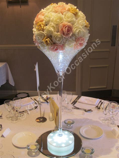 Wedding Table Centrepieces Manchester And The Northwest Martini Glasses Wedding Centerpieces