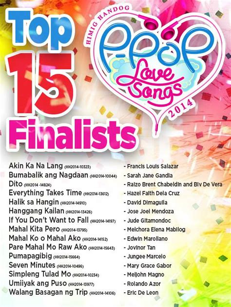 song of 2014 himig handog p pop songs 2014 top 15 finalists