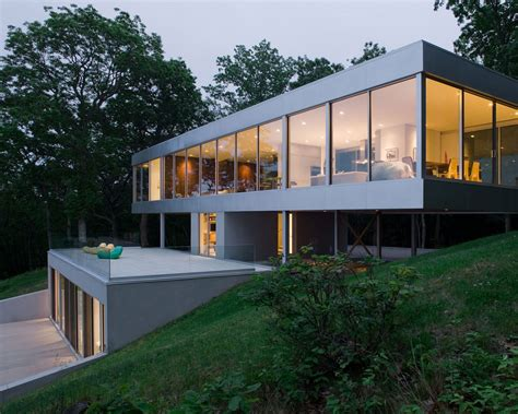 contemporary cantilever house design by paris architects panoramic views surround this cantilevered house from all