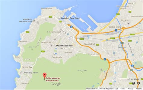 where is table mountain table mountain on map of cape town