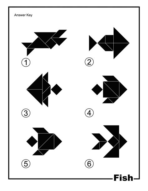 Printable Tangoes Puzzle Cards | fish silhouette solution tangram card clipart etc