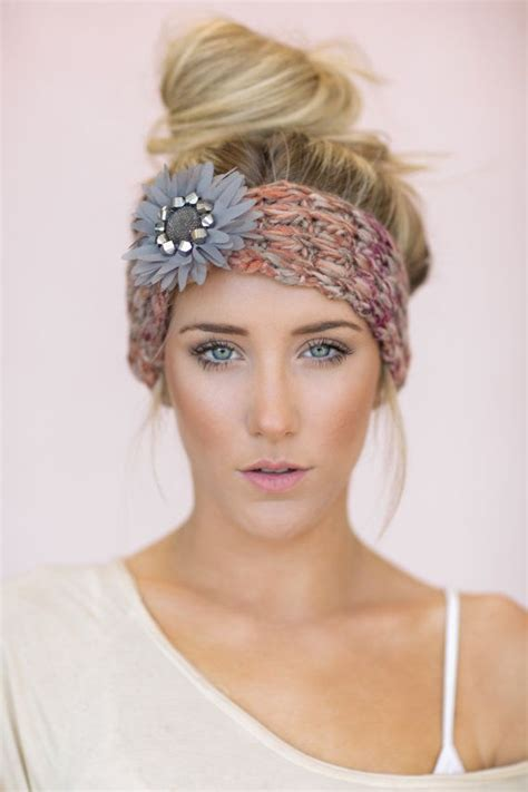 knitted head bangs styles gray boho knitted headband cute hair bands knit by