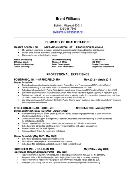 Master Production Scheduler Sle Resume by Master Scheduler Production Planner In St Louis Mo Resume Brent Williams Docshare Tips