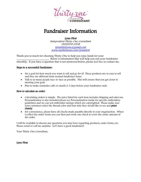 Fundraising Caign Letter Sle Thirty One Fundraising Information Thirty One Mission Fundraiser Information 31