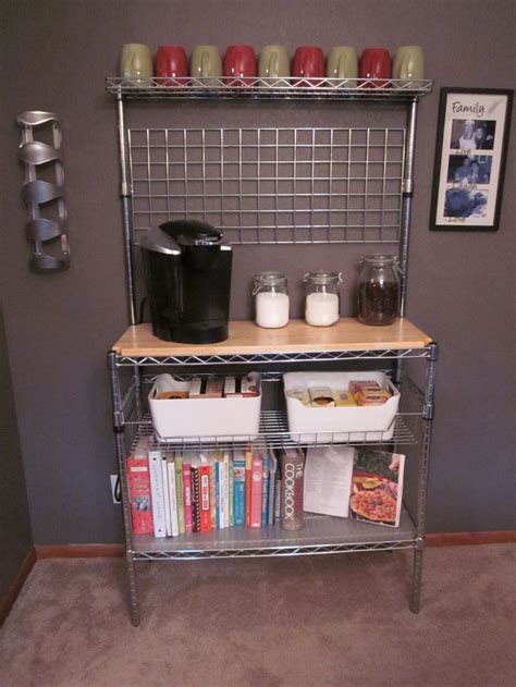 Bakers rack turned coffee bar     mine will be cooler than