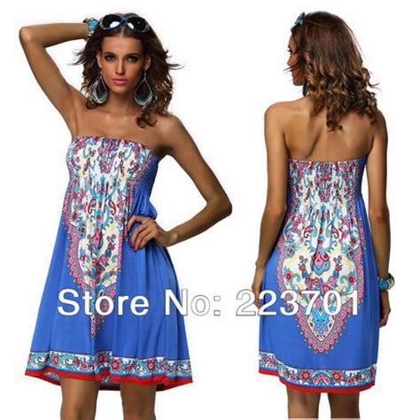 K Tropical Boho Dress strapless strandjurk