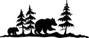 Fireplace Wall Sticker bear amp tree silhouette k 121 rubber art stamps