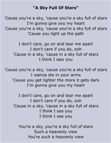 coldplay a sky full of stars lyrics 1000 images about lyrics on pinterest coldplay