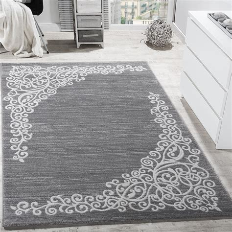 teppiche 240x340 designer rug with floral pattern shimmering yarn grey