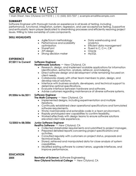 software developer resume template software engineer cv example for