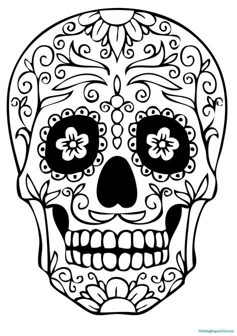 girl sugar skull coloring pages coloring pages for kids