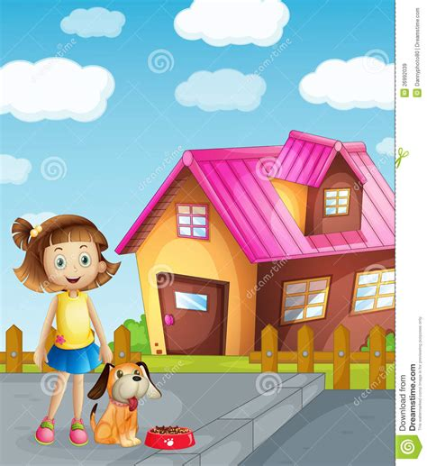 girl dog house girl dog and house royalty free stock images image 26992039
