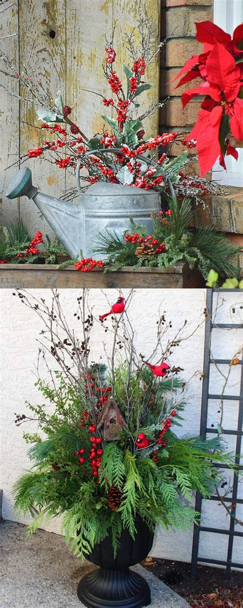 christmas decorating huge stone urns in front of entrance 24 colorful winter planters outdoor decorations a of rainbow