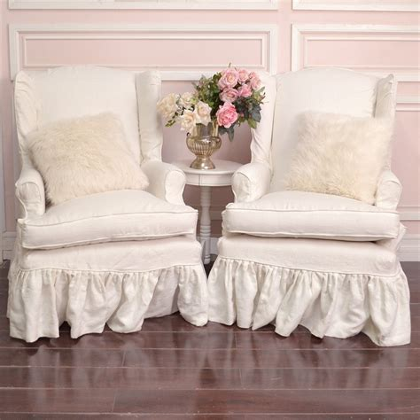 wing chair slipcover white slipcovered chairs shabby chic shabby cottage chic pair