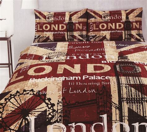 british flag bedding london retro quilt doona duvet cover set bedding uk