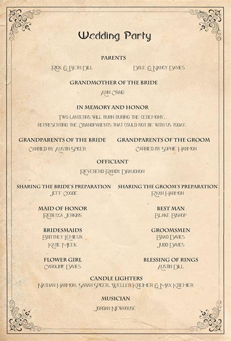 retro wedding program order of service ceremony reception