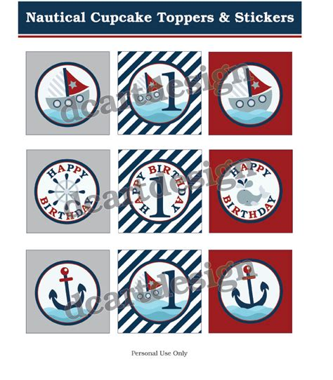 printable nautical stickers printable nautical cupcake toppers and stickers navy and red