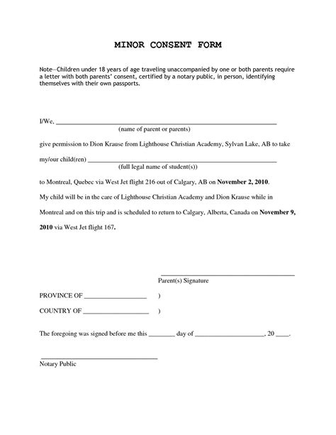 template of notarized letter to travel with child letter of consent to travel with one parent
