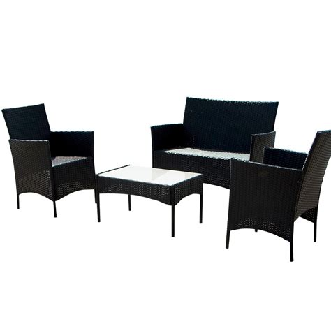 black wicker patio furniture sets 4pcs outdoor black rattan wicker sofa set cushioned garden