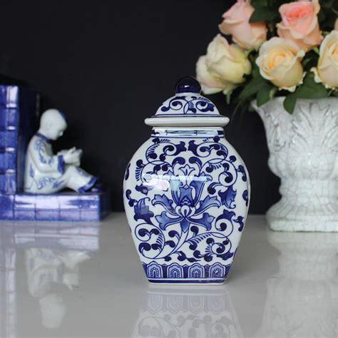 Blue And White America Style Ceramic Jars Antique Porcelain Temple Jars Home Decoration Decorative Jars Lids Promotion Shop For Promotional Decorative Jars Lids On Aliexpress